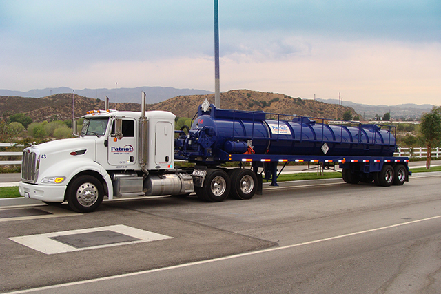 A Patriot Environmental Services specialized vacuum truck used in hazardous waste management